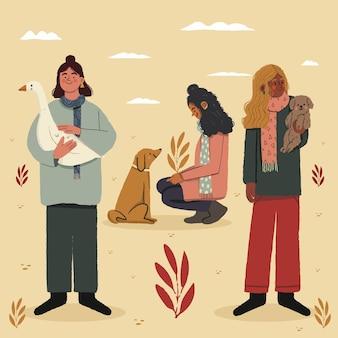 Jesieni ludzie z ilustracjami zwierząt domowych