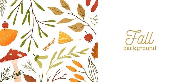 Jesieni płaskie tło. jesień botaniczny kolorowy szablon transparent z miejscem na tekst. suszone liście, gałązki i dekoracyjne tło grzybów. ilustracja liści naturalnego lasu.
