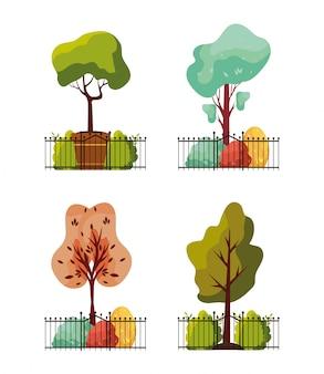 Jesieni rośliny w płotowym metalu parku