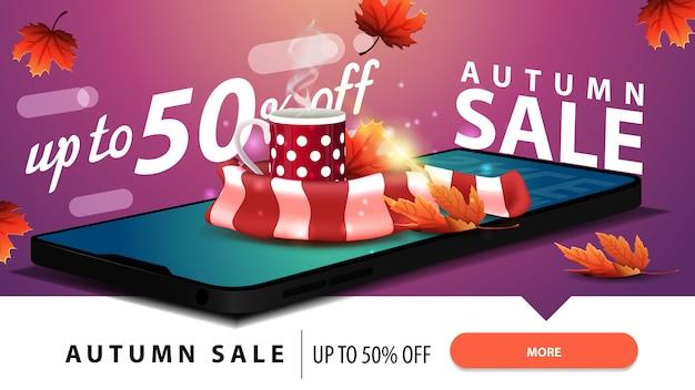 Jesieni sprzedaż, nowożytny rabatowy sieć sztandar z smartphone