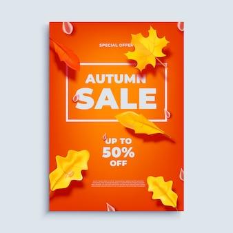 Jesieni sprzedaży sztandaru tło z spadków liśćmi