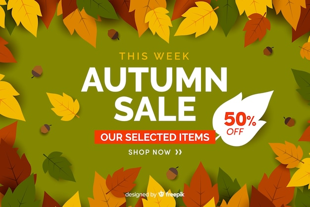Jesieni sprzedaży tła płaska projekt