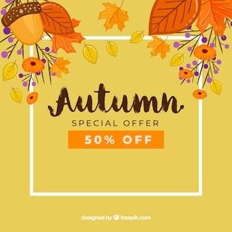 Jesieni sprzedaży tło z liśćmi