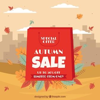 Jesieni sprzedaży tło z torba na zakupy