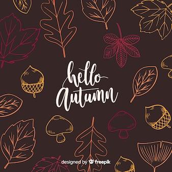 Jesieni tło z kolorowymi liśćmi