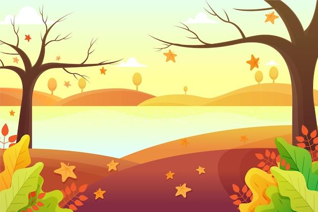 Jesieni tło z krajobrazem i drzewami