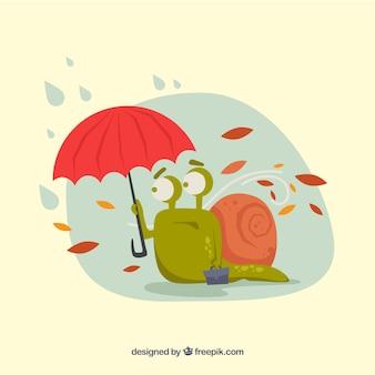 Jesieni tło z ślimaczkiem