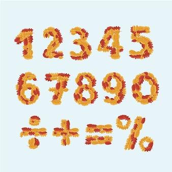 Jesienna czcionka. żółte liście alfabetu. jesienne abecadło. litery opadłych liści