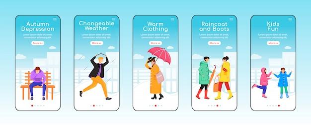 Jesienna deszczowa pogoda onboarding szablon ekranu aplikacji mobilnej. ciepłe ubranie. depresja.