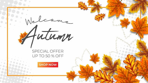 Jesienna duża wyprzedaż wektor ilustracja białe tło