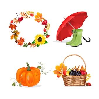 Jesienna granica ze słonecznikiem, jagodami i liśćmi. rama