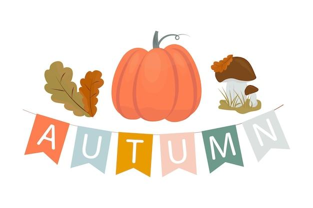 Jesienna ilustracja girlanda flag z napisem jesienne liście dyni i grzyby