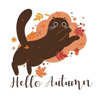 Jesienna ilustracja kot i napis hello autumn.