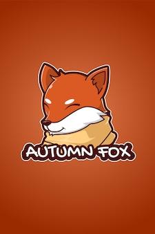 Jesienna ilustracja kreskówka logo lisa
