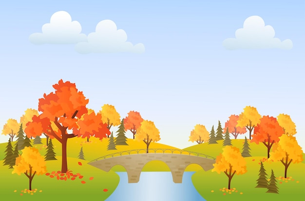 Jesienna ilustracja tło park