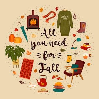 Jesienna ilustracja z domowymi uroczymi rzeczami na jesień