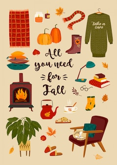 Jesienna ilustracja z domowymi uroczymi rzeczami