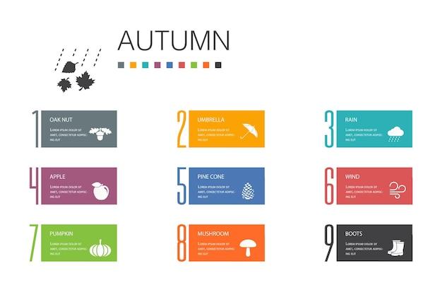 Jesienna infografika 10 opcji linii concept.oak nut, deszcz, wiatr, proste ikony dyni