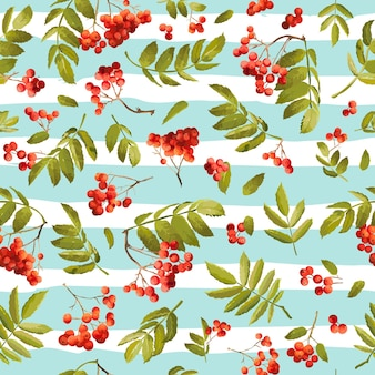 Jesienna jarzębina bezszwowe tło. kwiatowy wzór jesienny z liśćmi i jagodami