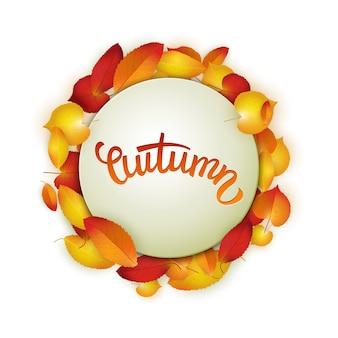 Jesienna karta, kolorowe liście i odręczny napis, tło, szablon, ilustracji wektorowych
