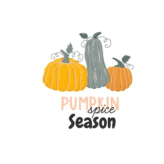 Jesienna karta z dyniami, jesiennymi liśćmi, gałęziami i jagodami. spadek cytat napis. wektor