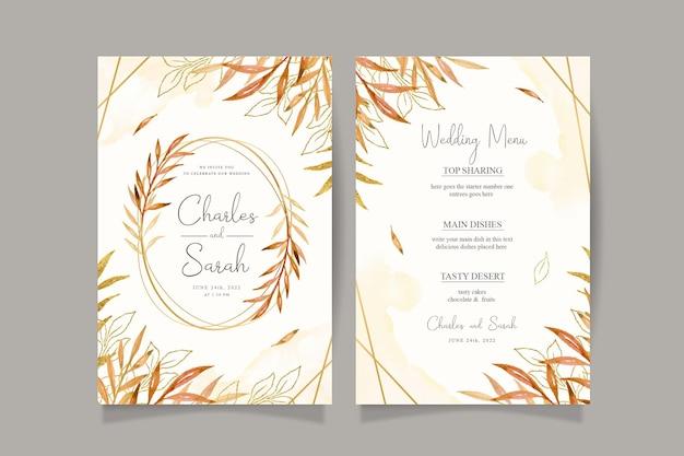 Jesienna karta zaproszenie na ślub z akwarelowymi liśćmi i złotą ramą