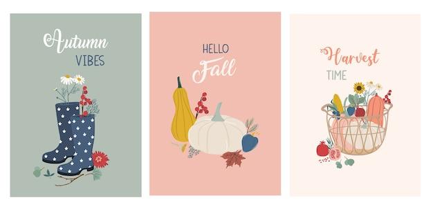 Jesienna kartka z życzeniami i zestaw plakatów. ładny ręcznie rysowane ilustracja jesień w pastelowych kolorach.