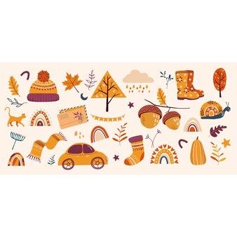 Jesienna kartka z życzeniami ilustracja szalik buty wełniany kapelusz drzewa liście deszcz chmura żołędzie