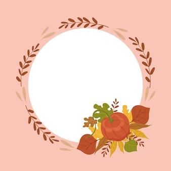 Jesienna kartka z życzeniami z ręcznie rysowaną dynią i liśćmi kwiatowa ramka