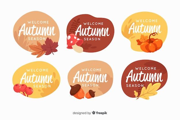 Jesienna kolekcja etykiet w stylu płaskiej