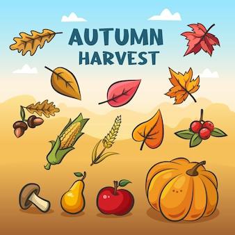 Jesienna kolekcja z jesiennymi zbiorami. jesienne opadłe liście, dynia, jabłko i inne warzywa