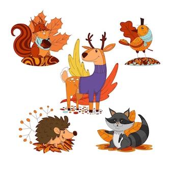Jesienna Kolekcja Zwierząt Kreskówek Darmowych Wektorów