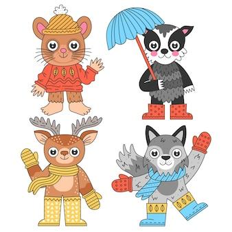 Jesienna kolekcja zwierząt kreskówek