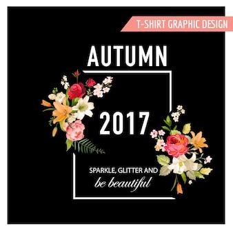 Jesienna koszulka z kwiatowym wzorem z kwiatami lilii i storczykami. romantyczny charakter tła