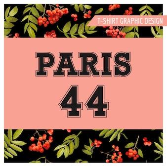 Jesienna koszulka z motywem kwiatowym paris graphic. jesień natura podróż tło
