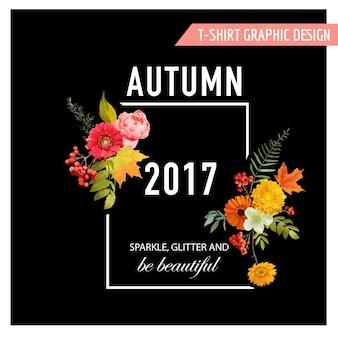 Jesienna koszulka z motywem kwiatowym z liśćmi klonu i kwiatami. jesienne tło w