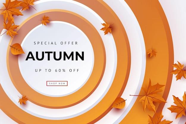 Jesienna oferta specjalna pozostawia tło ilustracji wektorowych