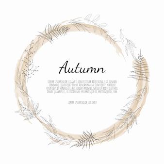 Jesienna okrągła rama. wieniec jesiennych liści.