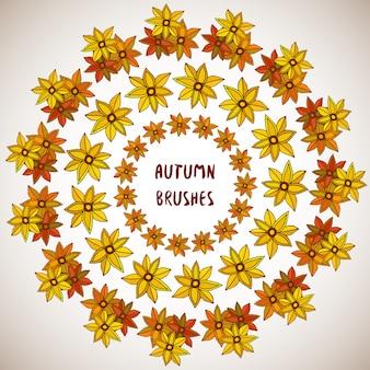 Jesienna ozdoba. kwiaty, liście zestaw ramek. granice wektorowe, ornament. pędzle w zestawie