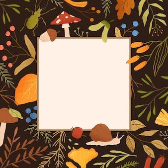 Jesienna rama płaska ilustracja. obramowanie z realistycznymi suszonymi liśćmi, jagodami i miejscem na tekst. ziołowe kolorowe tło. sezon jesienny dekoracyjny tło dla banera postu w mediach społecznościowych.