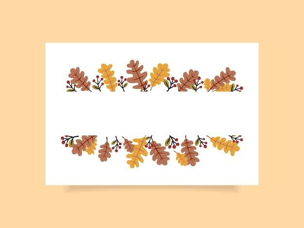 Jesienna rama prostokąta z wolnym miejscem na tekst. ilustracja wektorowa