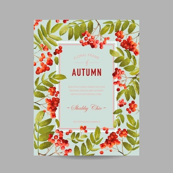 Jesienna ramka na zdjęcia z jagodą jarzębiny i liśćmi. karta sezonowego projektu jesiennego