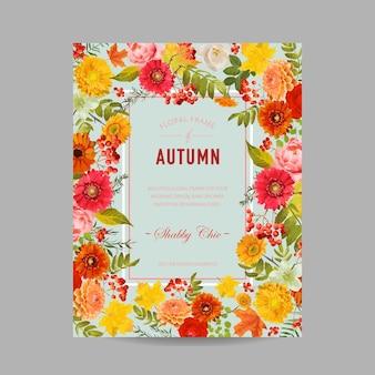 Jesienna ramka na zdjęcia z liśćmi klonu i kwiatami. karta projektu sezonowej jesieni. ilustracja