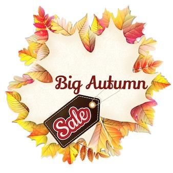 Jesienna ramka w kształcie opadłego liścia wielka wyprzedaż.