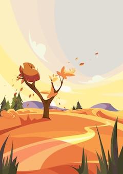 Jesienna scena na zewnątrz. krajobraz przyrodniczy w orientacji pionowej.