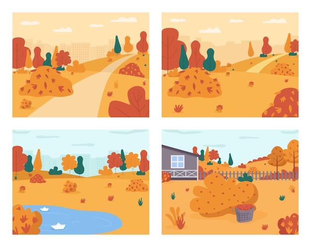Jesienna sceneria półpłaski zestaw. sezonowy park miejski. podwórko domu wiejskiego. spacer po miejskim ogrodzie. kałuża deszczu. spadek krajobraz kreskówka 2d do kolekcji użytku komercyjnego
