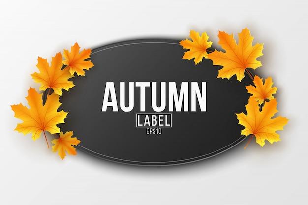 Jesienna sezonowa etykieta z jesiennymi liśćmi klonu.