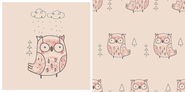 Jesienna sowa drukuj z bezszwowym wzorem ręcznie rysowane ilustracji wektorowych