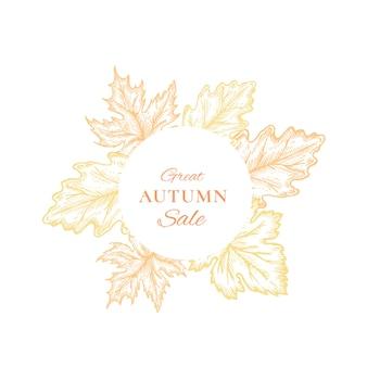Jesienna sprzedaż emblemat ramki, karty lub szablon znak.