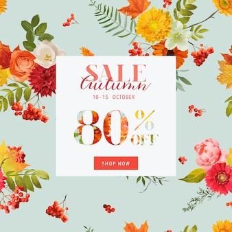 Jesienna sprzedaż kwiatowy transparent z liści klonu. upadek rabat tło. ilustracja